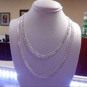 Sterling solid 925 stamped Figaro and Cuban chains